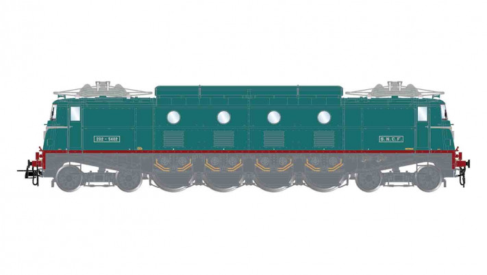 SNCF, electric locomotive 2D2 5402 in dark green livery, GRG version,