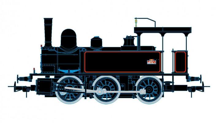 SNCF 030 steam locomotive, black/red livery