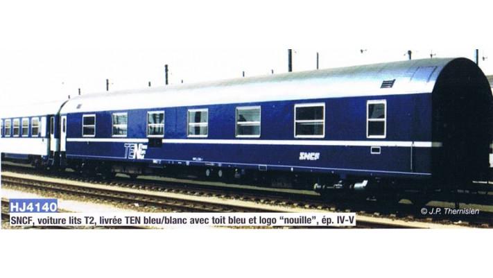 SNCF, type T2 sleeping coach, TEN with  nouille logo , period IV