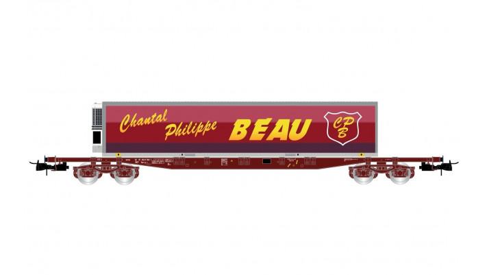 SNCF, 4-axle flat wagon Sgss, loaded with swap body  Chantal Philipe B