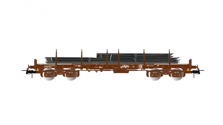 SNCF, 4-axle flat wagon Remms without lateral boards in brown livery,