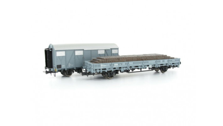 FS,2-unit set maintenance wagons, grey livery, contains 1 x closed wag