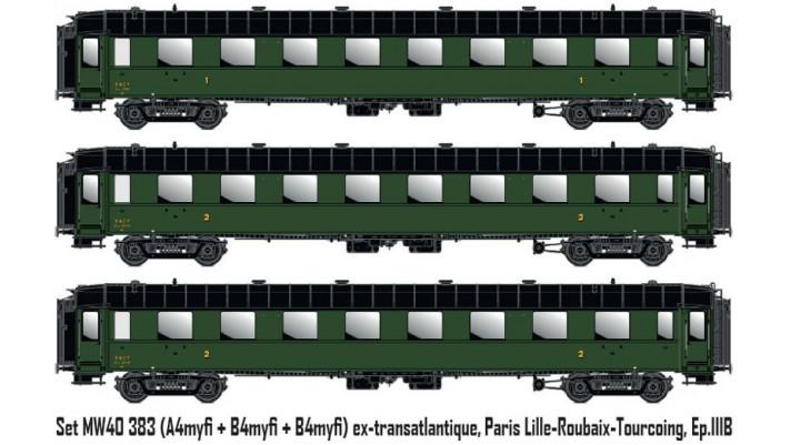set 3 OCEM,vert, chassis noir ep IIIb  SNCF