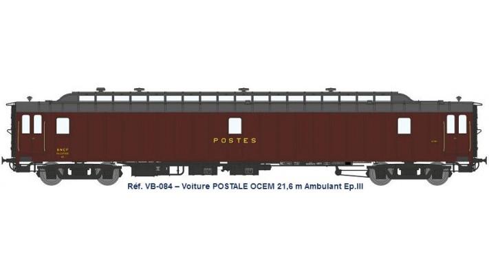 AMBULANT 21,6 m Ep.III - PAz brun PTT, toit gris, châssis noir, Bogie