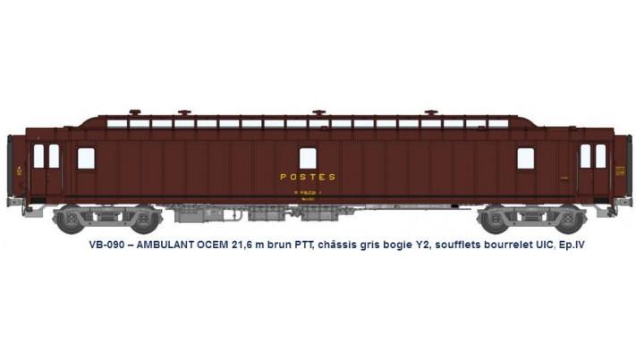 AMBULANT 21,6 m Ep.IV brun PTT, châssis gris, bogie Y2, bourrelet UIC,