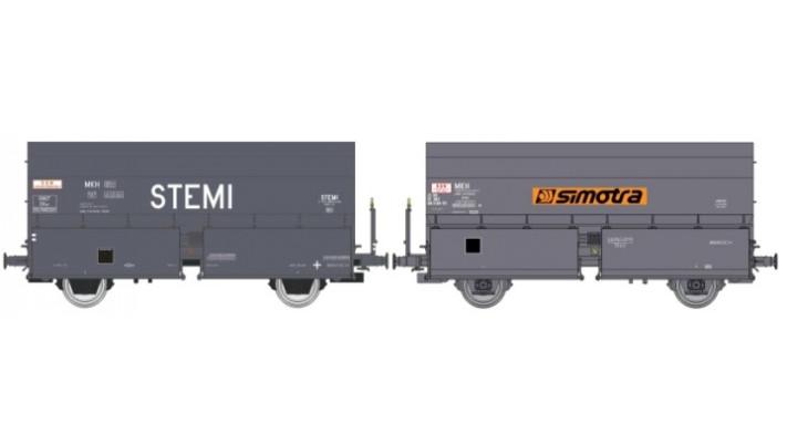 SET de 2 Wagons STEMI 56 2E Boîtes à Rouleau, avec Plateforme, 'STEMI'