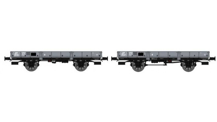 Set de 2 Wagons PLAT OCEM 29 Ep.II  MIDI, roues à rayons