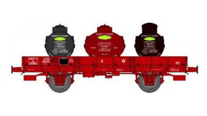 Wagon PLAT OCEM 29 Ep.III  3 Containers Citernes SIMOTRA, roues pleine