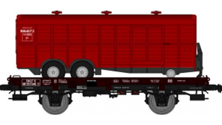 Wagon UFR MonoPorteur Ep.III Remorque double essieux ROUGE UNIE