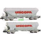 SNCF, 2-unit pack 4-axle silo wagons,  UNICOPA , period IV