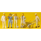 ouvriers du batiment et brouette