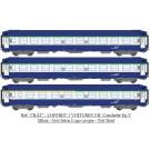 SET de 3 UIC Couchettes TH (2 x B9c9x + 1 A4c4B5c5x), Bleue/Gris béton
