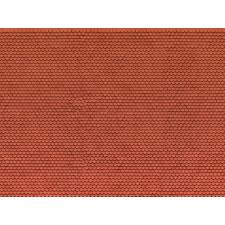 """Feuille en carton 3D """"Tuile alsacienne"""", rouge, H0"""