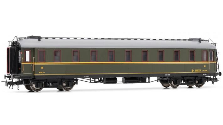 Coche Verderón RENFE 3ª clase. Con luz DC