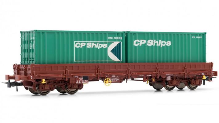 Wagon plat Remms chargé de 2 conteneurs   CP Ships  , époque IV/V