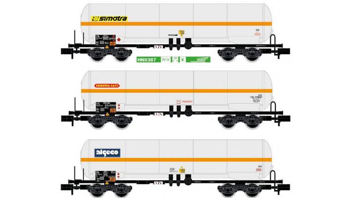 SNCF, 3-unit 4-axle gas tank wagons,  period IV-V
