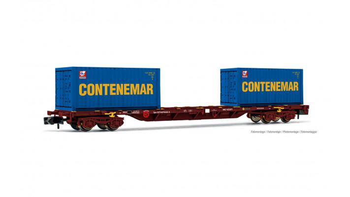 RENFE, wagon porte-conteneurs de 60' à 4 essieux MMC, chargé de 2 cont