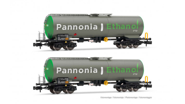 Wascosa, set de 2 wagons-citerne à 4 essieux, livrée gris et vert  Pan