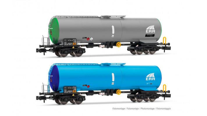 ERR, set de 2 wagons-citerne à 4 essieux, livrée vert/gris et bleu cla