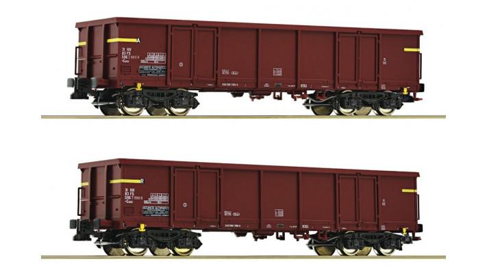 2-tlg. Set: Offene Güterwagen, FS