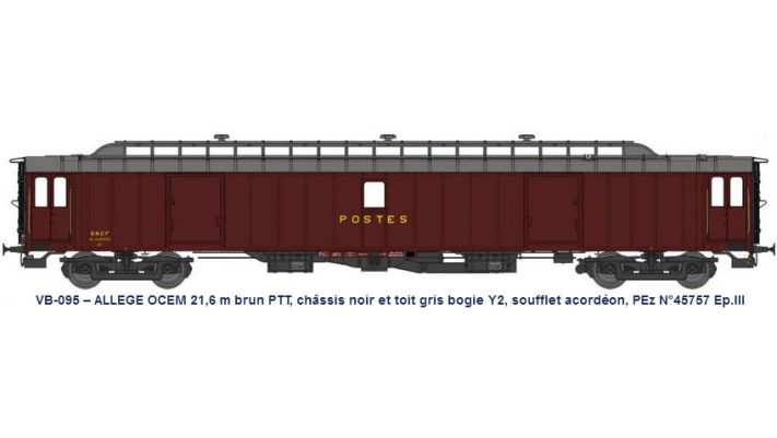 ALLEGE 21,6 m Ep.III brun PTT, châssis noir, toit gris bogie Y2, souff