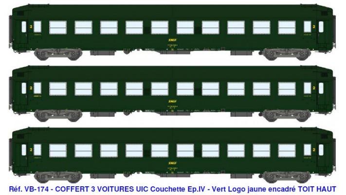 COFFRET 3 VOITURES UIC B9C9 Vert 301 ep IV
