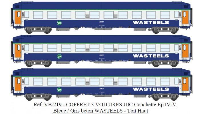 SET de 3 UIC Couchettes TH B9C9x Bleue/Gris béton WASTEELS Ep.IV-V