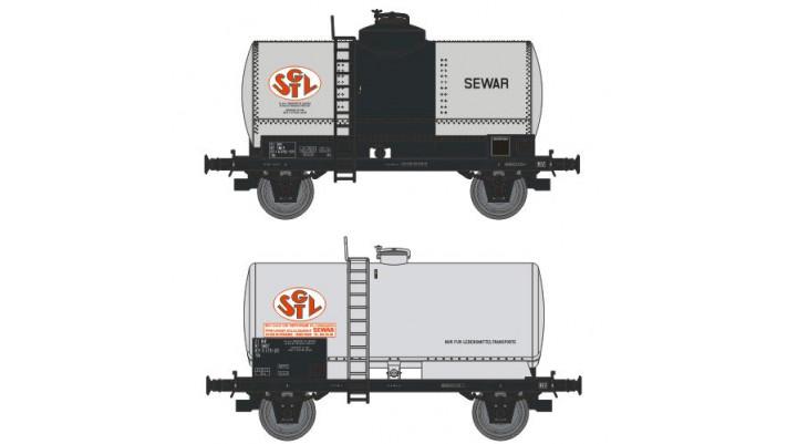 SET de 2 Wagons CITERNES rivetées 'SGTL', boites d'essieux à coussinet