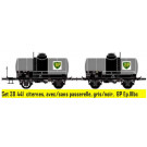 Coffret de 2 wagons OCEM citerne avec/sans passerelle, gris/noir, BP