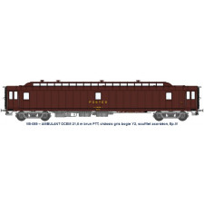 AMBULANT 21,6 m Ep.IV brun PTT, châssis gris, bogie Y2, soufflet, PAz